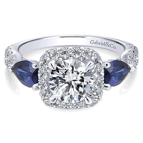 Ladies 14k White Gold 0.74ct Diamond and 0.98ct Sapphire Gabriel & Co Halo Semi Mount Engagement Ring. Center head holds up to 1ct stones. **Center stone not included.