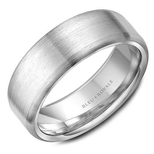 A brushed white gold wedding band. This ring is available in 14K, 18K (White, Yellow & Rose gold), Platinum 950 & Palladium, please call for pricing.