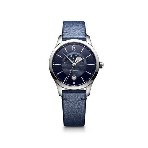 Swiss made watch with feminine and elegant design that makes a style statement from desk to dinner. With an integrated moon-phase function and a brilliant cut authentic diamond at 6 oclock. The genuine mother-of-pearl dial turns each watch into a truly u