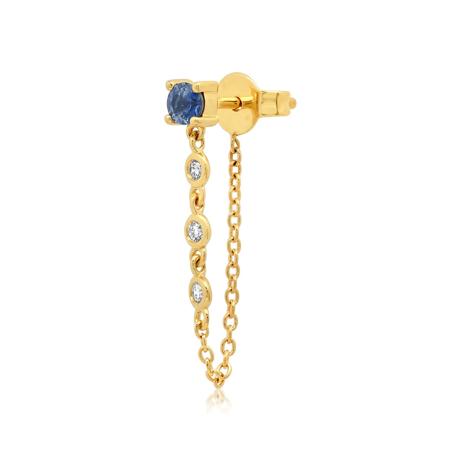 Carat Weight: 0.14 Blue Sapphire, 0.045 DiamondThe Single Blume Sapphire Stud with Diamond Chain can be made to order in white and rose gold upon request.