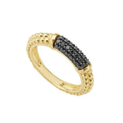 Pav diamonds set in 18K gold with Caviar beaded accents on this classic band ring. LAGOS diamonds are the highest quality natural stones.18K Gold0.31 CaratBand Width 4mm Tapers to 3mmStyle #: 02-10245-BD7