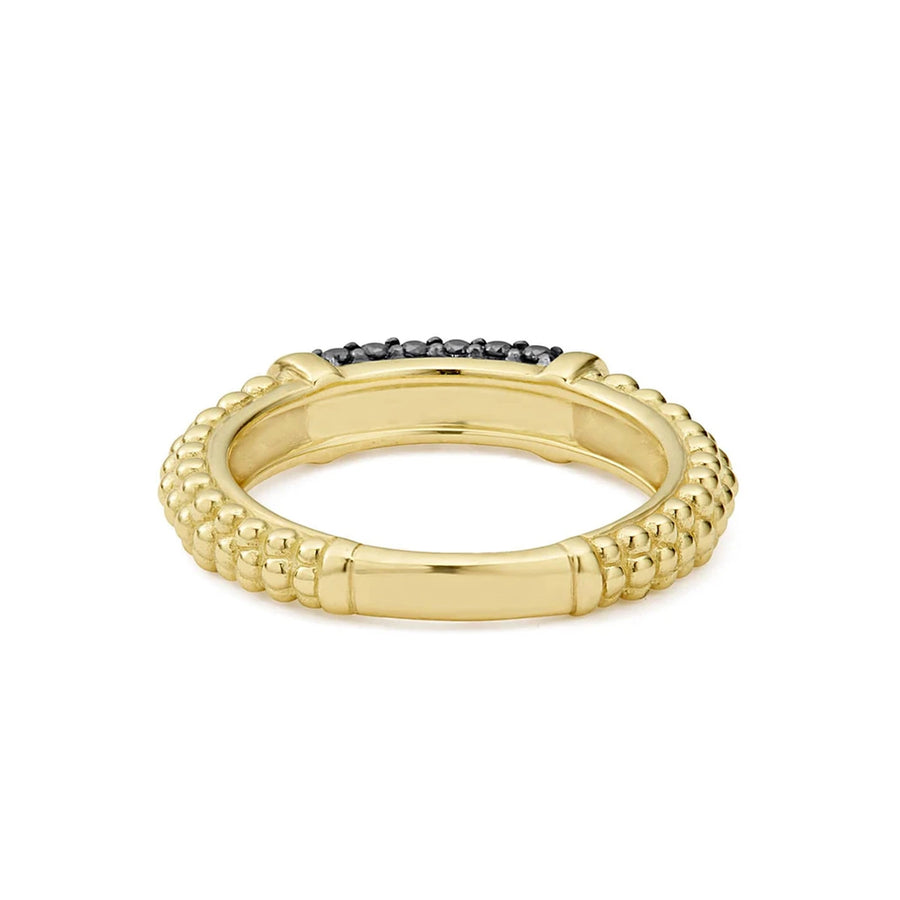 Lagos Caviar Gold Black Diamond Ring- 02-10245-BD7