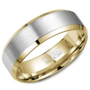 A yellow gold wedding band with a brushed white gold center and beveled edges.