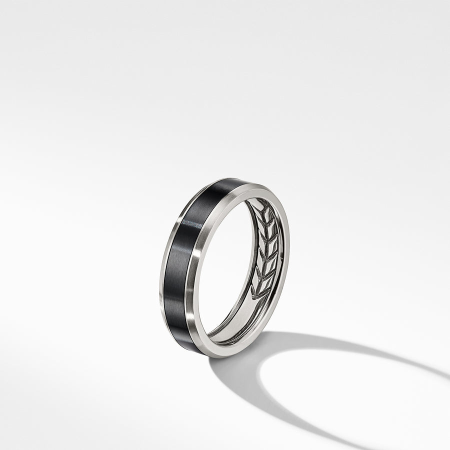 David Yurman Beveled Band Ring in Grey Titanium with Black Titanium - R25216MTN-883932978919