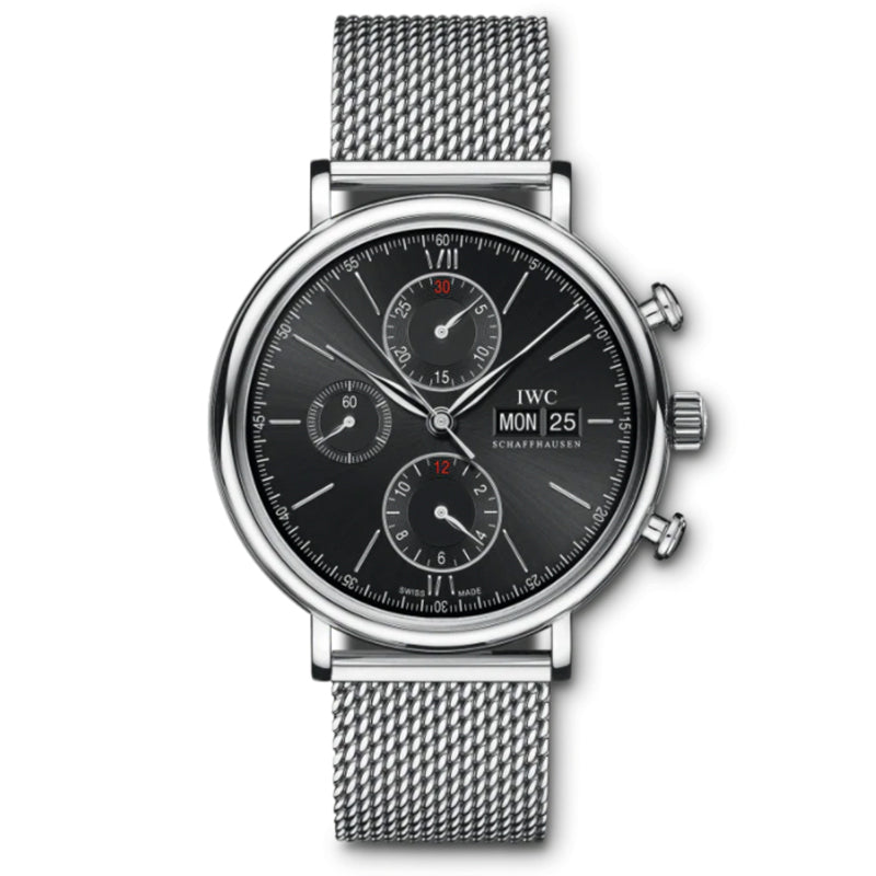 IWC Portofino Chronograph Stainless Steel with Black Dial- IW391030