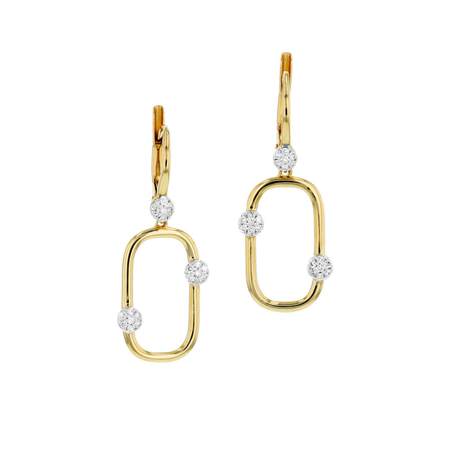 These modern and comfortable earrings feature high polished gold with petite diamond sections.Details:-14k yellow gold and diamond (0.16 tcw)- Style E0802DY- Available in yellow gold and white gold