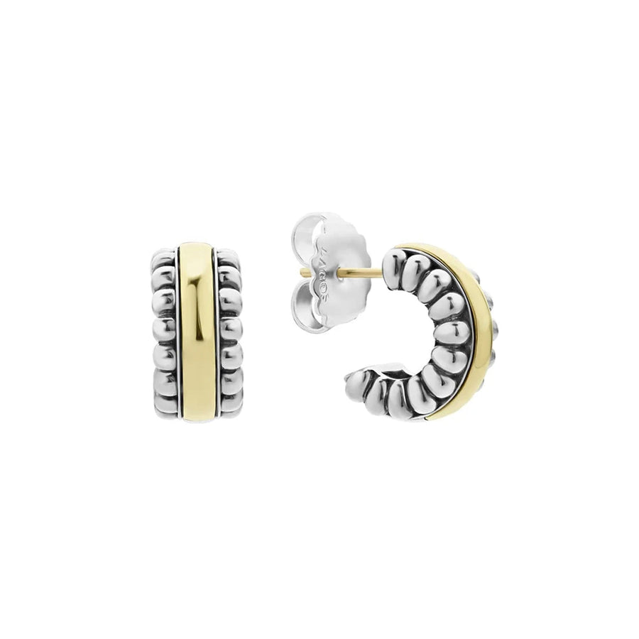 Sterling silver Caviar beading with 18K gold form these hoop earrings. Finished with 14K gold post backing.Sterling Silver & 18K Gold14K Gold PostDimensions 15mm x 8mmStyle #: 01-80831-S