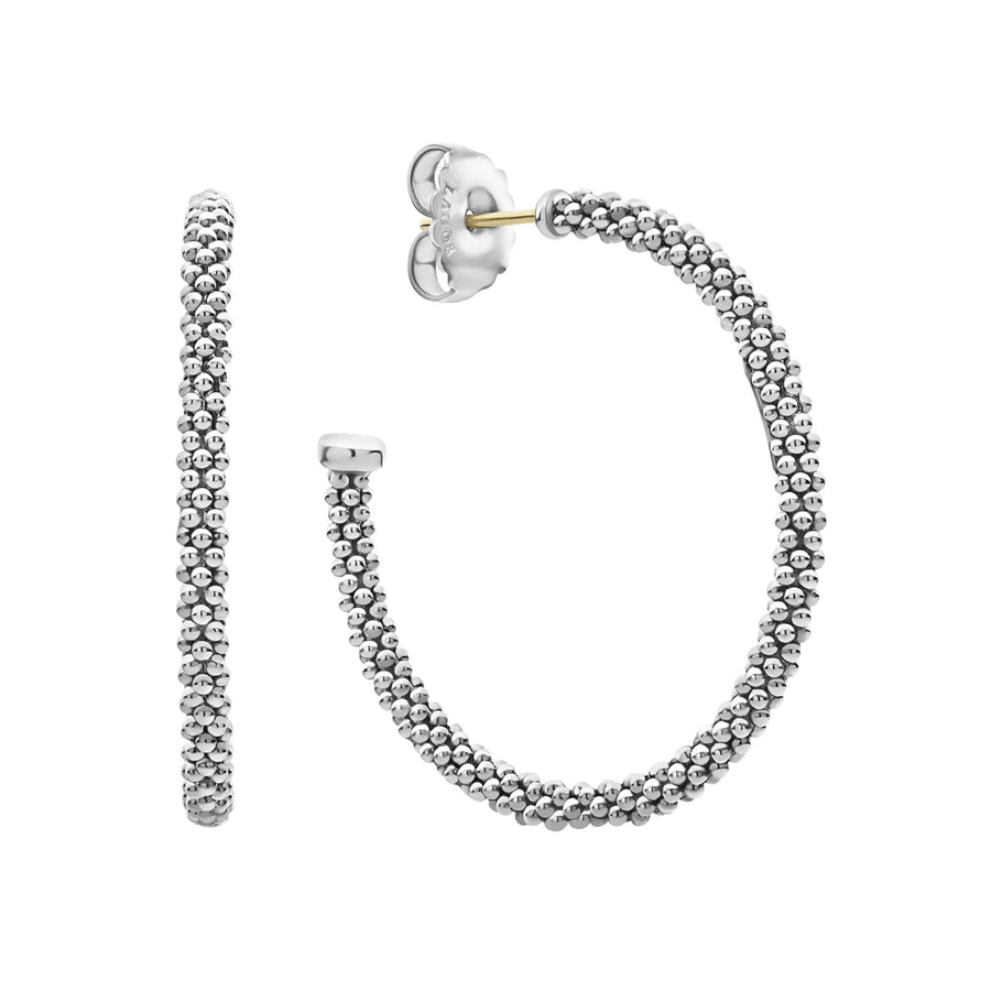 Signature sterling silver Caviar beads form these versatile hoop earrings. Finished with 14k gold post backing.Sterling Silver14K Gold PostDiameter 35mmWidth 3mmStyle #: 01-80718-35