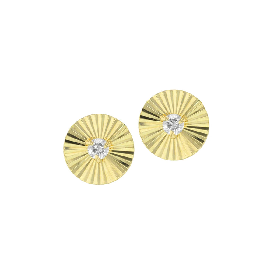 These delicate earrings are the perfect petite style, they feature the right amount of sparkle for an everyday piece. Aura is meant to convey the energy that irradiates around you, the reflection of gold combined with the sparkle from the diamond creates the perfect amount of sparkle. Details:- 14k yellow gold and diamonds (0.24 tcw)- Size: 0.4 in diameter- Style E0905DY