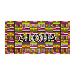 Aloha Hawaiian Flag Towel.  Towel is uniquely designed to feature both the Hawaii State Flag and the Kanaka Flag.  ALOHA printed on the middle of the towel.  Perfect for the beach or the home.