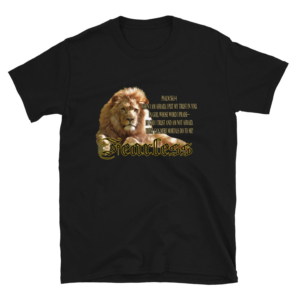Fearless Lion T-Shirt for men or women.  Features a Lion and Psalm 56:3-6 scripture on the shirt,  Display your christian faith.