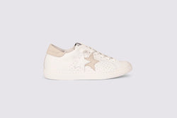 LOW WHITE LEATHER SNEAKERS WITH ICE CRUST DETAILS