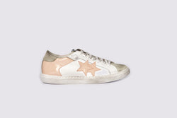 LOW SNEAKERS IN WHITE LEATHER AND CRUST ICE WITH PINK PATENT LEATHER DETAILS