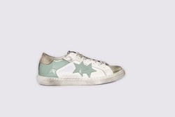 LOW SNEAKERS IN WHITE LEATHER AND ICE CRUST WITH LIGHT BLUE PATENT LEATHER DETAILS