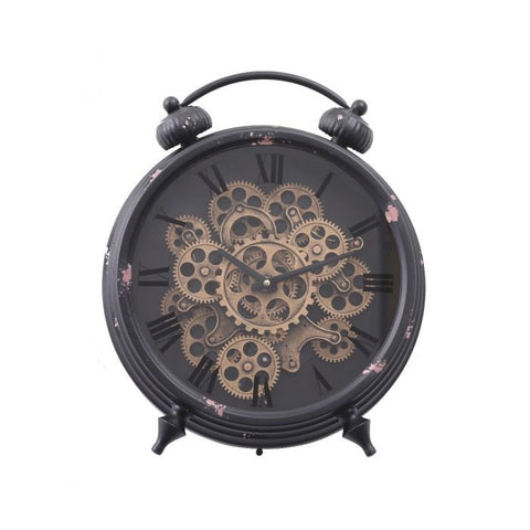 Eddison round exposed gear movement mantle clock
