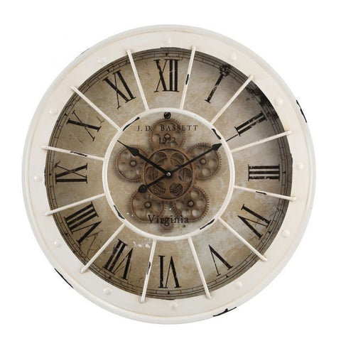 Bassett round industrial exposed gear wall clock