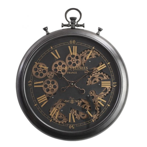 French black chronograph round exposed gear movement wall clock