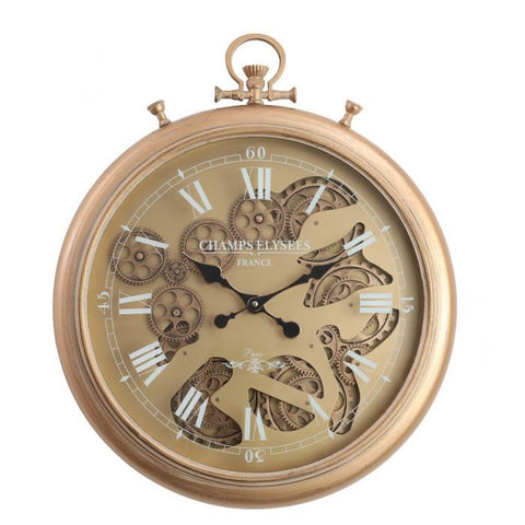 French gold chronograph round exposed gear movement wall clock