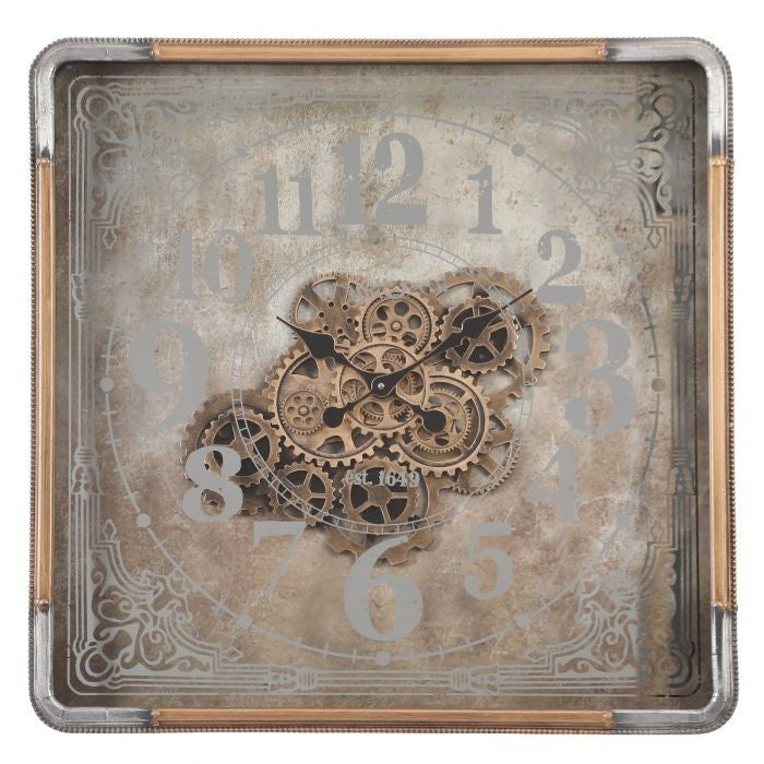 Roma mirrored gold square exposed gear movement wall clock from Chilli Temptations