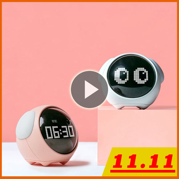 Cute Children's Multifunctional Bedside Clock - Voice Control, Night Light, and more!!!