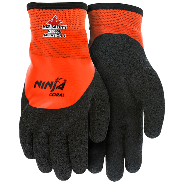 Ninja® Coral Work Gloves 15 Gauge Orange Nylon Shell Fully Coated with Clear PVC