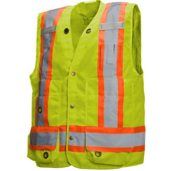 Lime/Yellow Deluxe Surveyor Vest with 17 Pockets