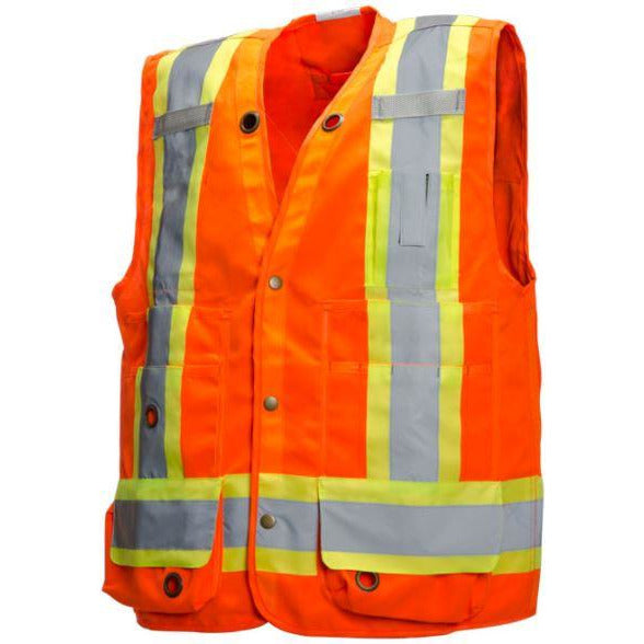 Orange Deluxe Surveyor Vest with 17 Pockets
