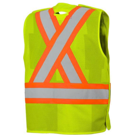 Lime/Yellow Five Point Tear-Away Mesh Safety Vest with Four Pockets