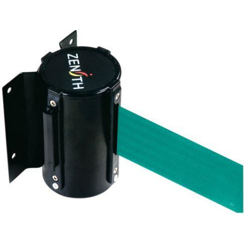 Wall Mount Barriers, Steel, Screw Mount, 7', Green Tape