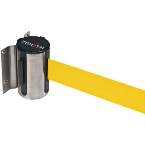 Wall Mount Barriers, Steel, Screw Mount, 7', Yellow Tape