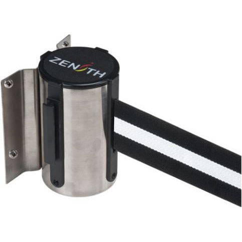 Wall Mount Barriers, Steel, Screw Mount, 7', Black/White Tape
