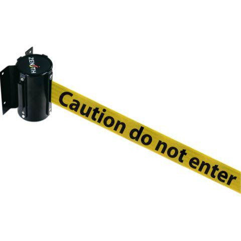 Wall Mount Barriers, Steel, Screw Mount, 7', Black/Yellow Caution Tape