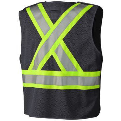 Hi-Viz Black Tear Away Mesh Back/Solid Front with Zipper Traffic Vest