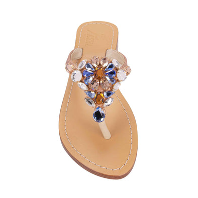 Metallic Rose Gold Jewel Sandals