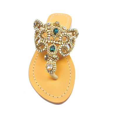 Emerald Gold Jewel Sandals