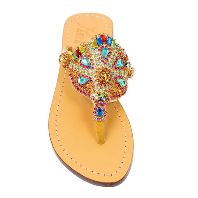 Rainbow Gold Czech Rhinestones Jewel Sandals