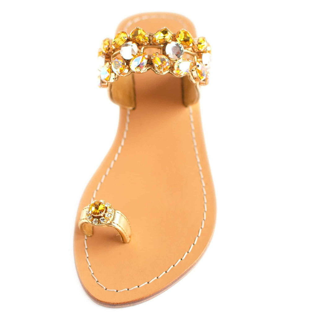Topaz Gold Jewel Sandals