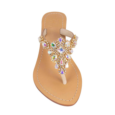 Clear AB Gold Jewel Sandals