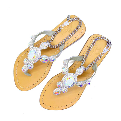 Clear AB Silver Jewel Sandals