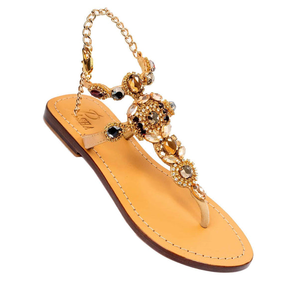 CSEPEL - Pasha | Handmade Leather Sandals with Czech Rhinestones -