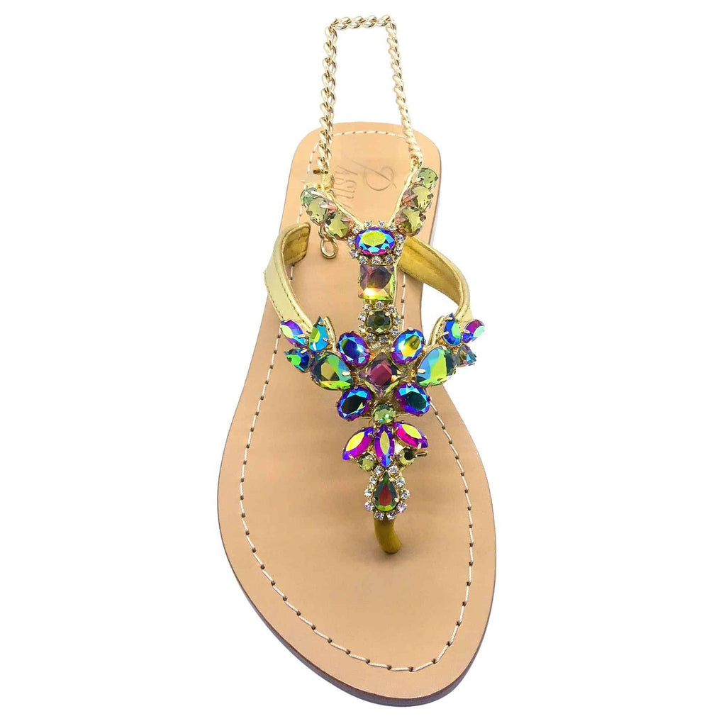 Elba Crystal VM Gold Sandals
