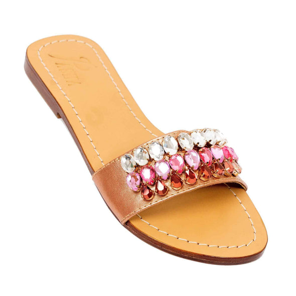 PIGEON - Pasha | Handmade Leather Sandals with Czech Rhinestones -