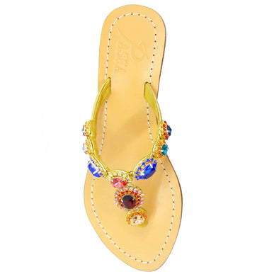 Sao Paulo Multi Gold Jewel Sandals