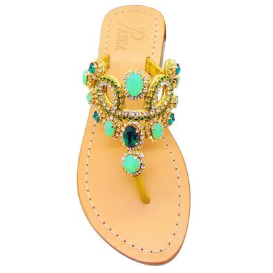 St Vincent Emerald Gold Jewel Sandals