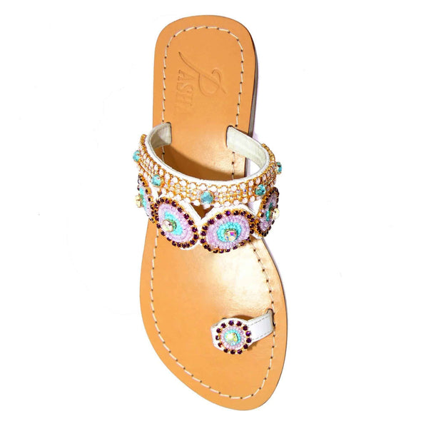 Surtsey Rose Opal White Sandals