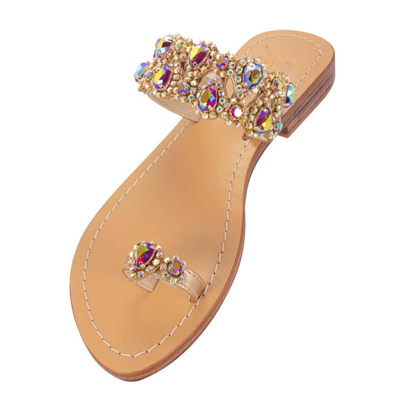 SYRNA - Pasha | Handmade Leather Sandals with Czech Rhinestones -