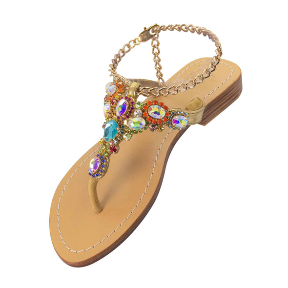 THULE - Pasha | Handmade Leather Sandals with Czech Rhinestones -