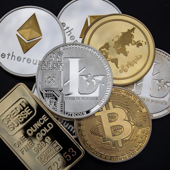 Gold & Silver Plated Souvenir Cryptocurrency Coins 40mm | BTC LTC DOGE ETH XMR EOS ETC Dash