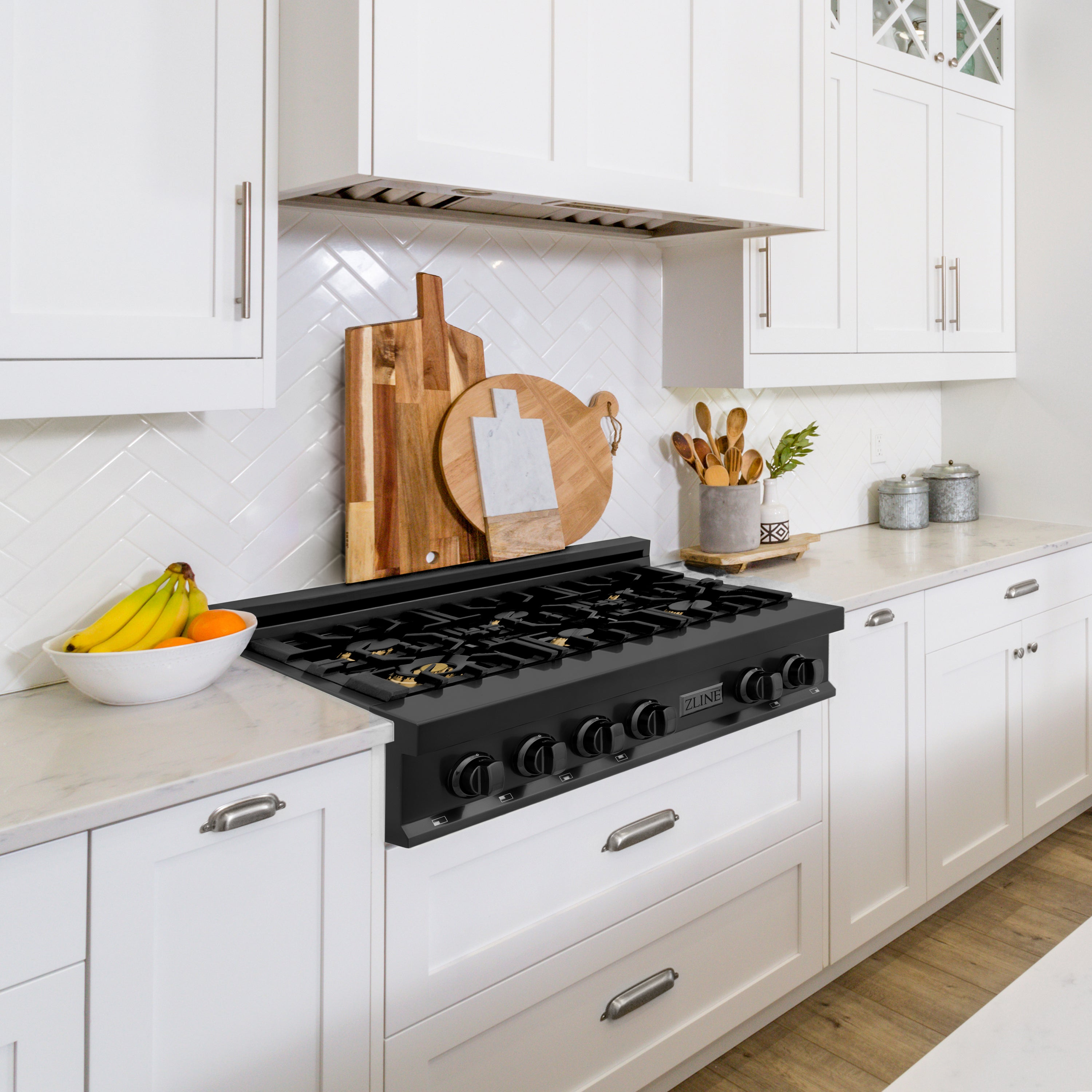 Therangehoodstore.com, ZLINE 30 in. Porcelain Rangetop in Black Stainless with 4 Gas Burners (RTB), RTB-30,