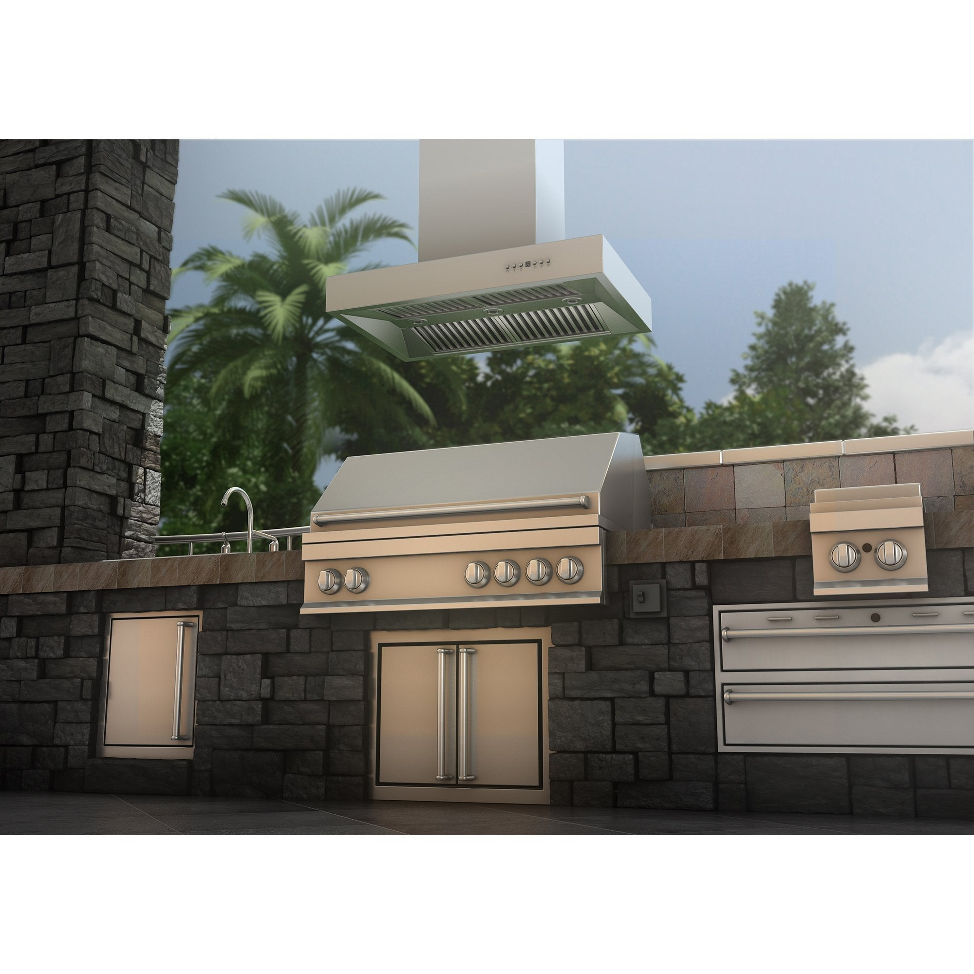 ZLINE Kitchen and Bath, ZLINE Outdoor Island Mount Range Hood in Stainless Steel (KECOMi-304), KECOMi-304-36,